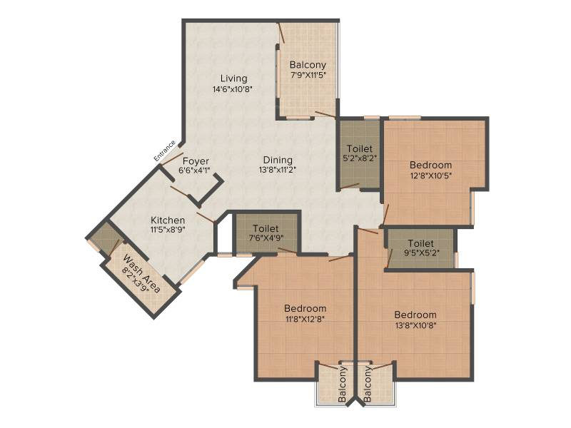 Trinity Venus (3BHK+4T (1,770 sq ft) + Servant Room 1770 sq ft)