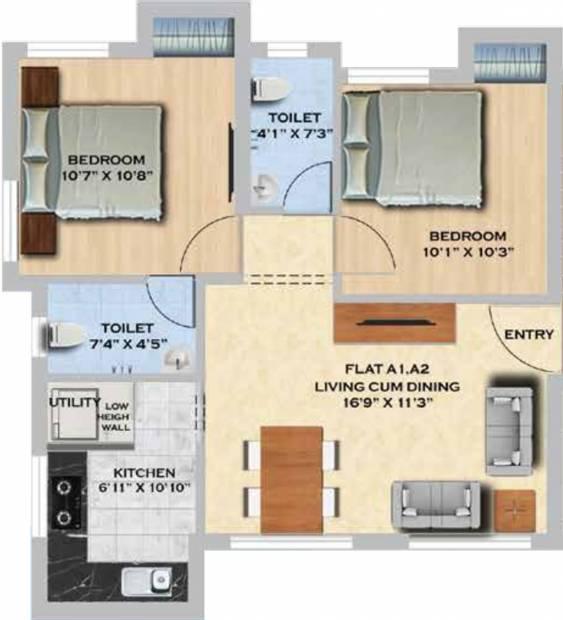 MS Orange County Apartments (2BHK+2T (821 sq ft) 821 sq ft)