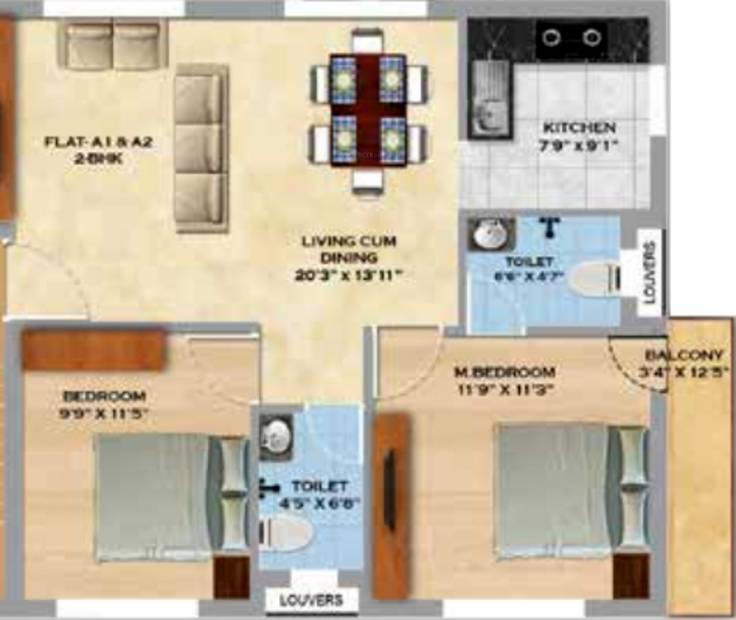 MS Orange County Apartments (2BHK+2T (965 sq ft) 965 sq ft)