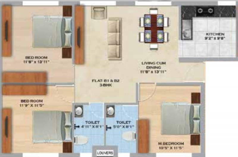 MS Orange County Apartments (3BHK+2T (1,182 sq ft) 1182 sq ft)