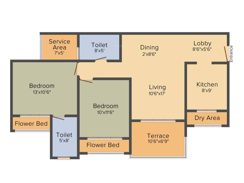 Mohan Altezza (2BHK+2T (1,330 sq ft) 1330 sq ft)