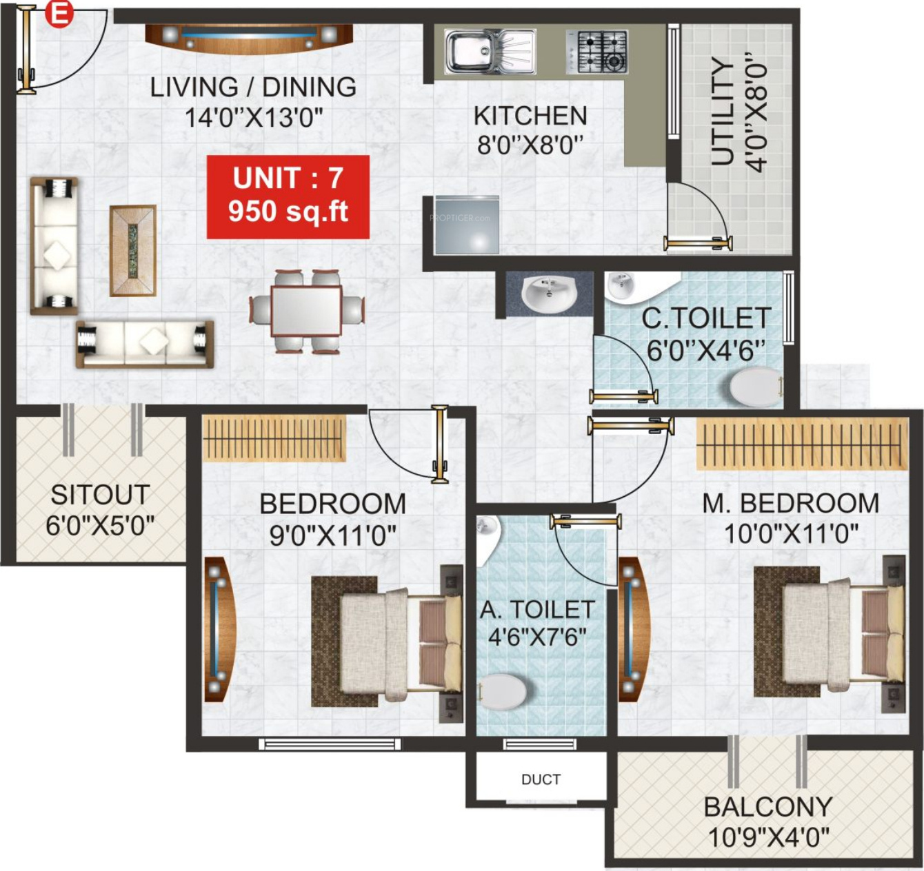 950 Sq Ft 2 Bhk 2t Apartment For Sale In Gk Shelters Tower