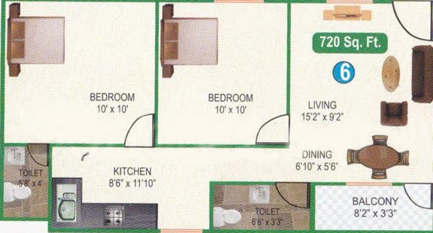 720 sq ft 2 bhk 2t apartment for sale in srivanth for 720 sq ft apartment floor plan