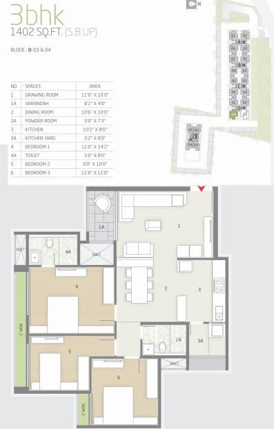 Goyal Orchid Greens (3BHK+2T (1,402 sq ft) 1402 sq ft)
