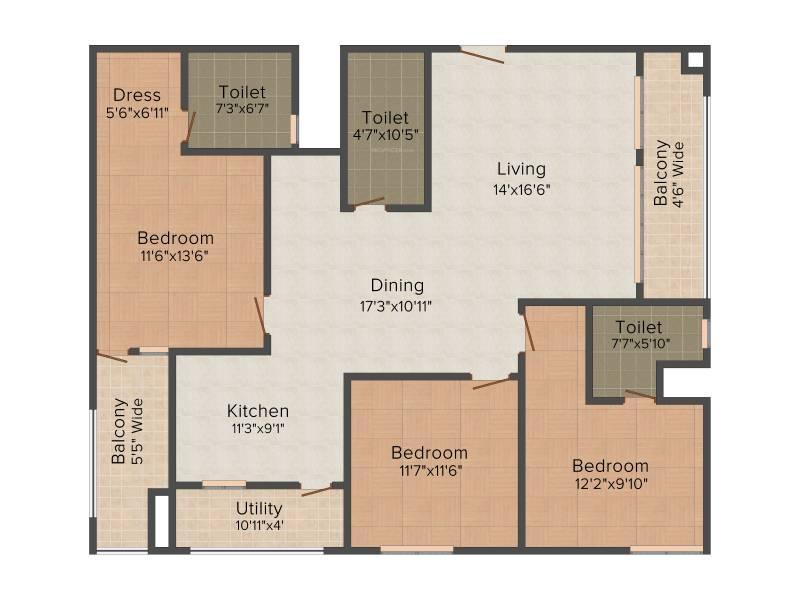 Lanco Hills Apartments (3BHK+3T (2,112 sq ft) 2112 sq ft)