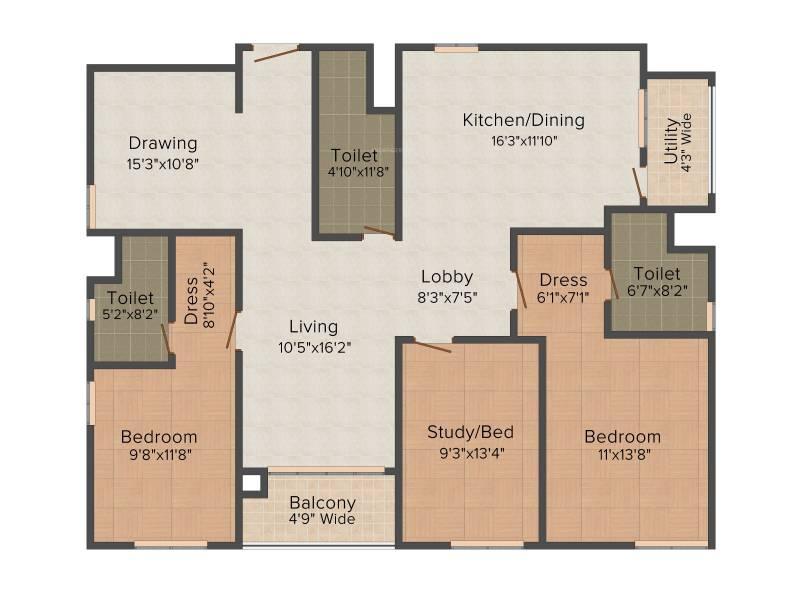 Lanco Hills Apartments (3BHK+3T (2,081 sq ft) 2081 sq ft)
