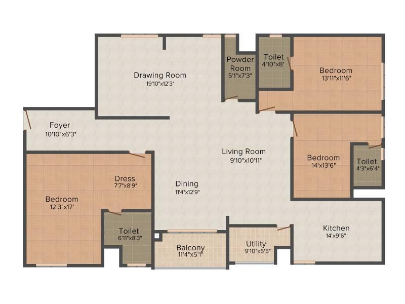 Lanco Hills Apartments (3BHK+4T (2,795 sq ft) 2795 sq ft)