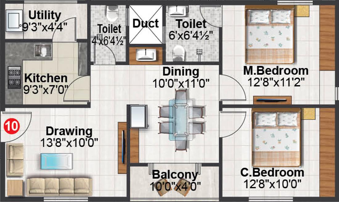 Mdvr byrathi residency in anagalapura near hennur main for X2 residency floor plan