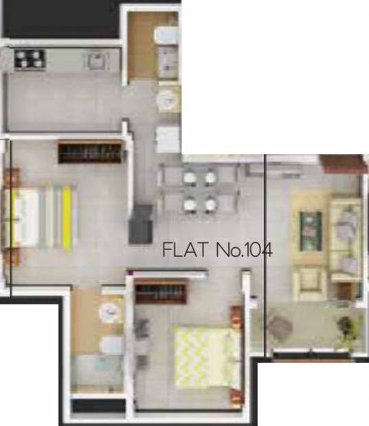 PS Nexterra (2BHK+2T (605 sq ft) 605 sq ft)