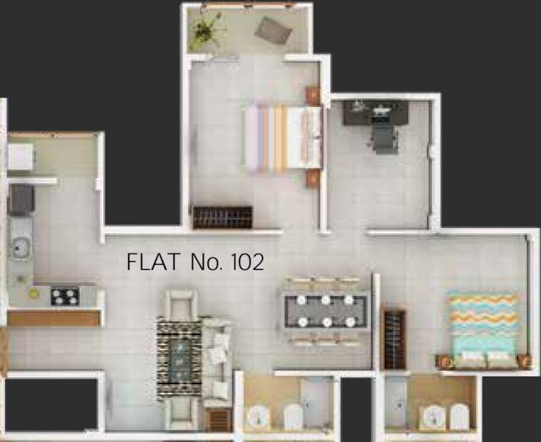 PS Nexterra (3BHK+2T (1,155 sq ft) 1155 sq ft)