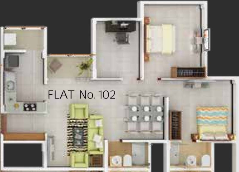 PS Nexterra (3BHK+2T (1,165 sq ft) 1165 sq ft)