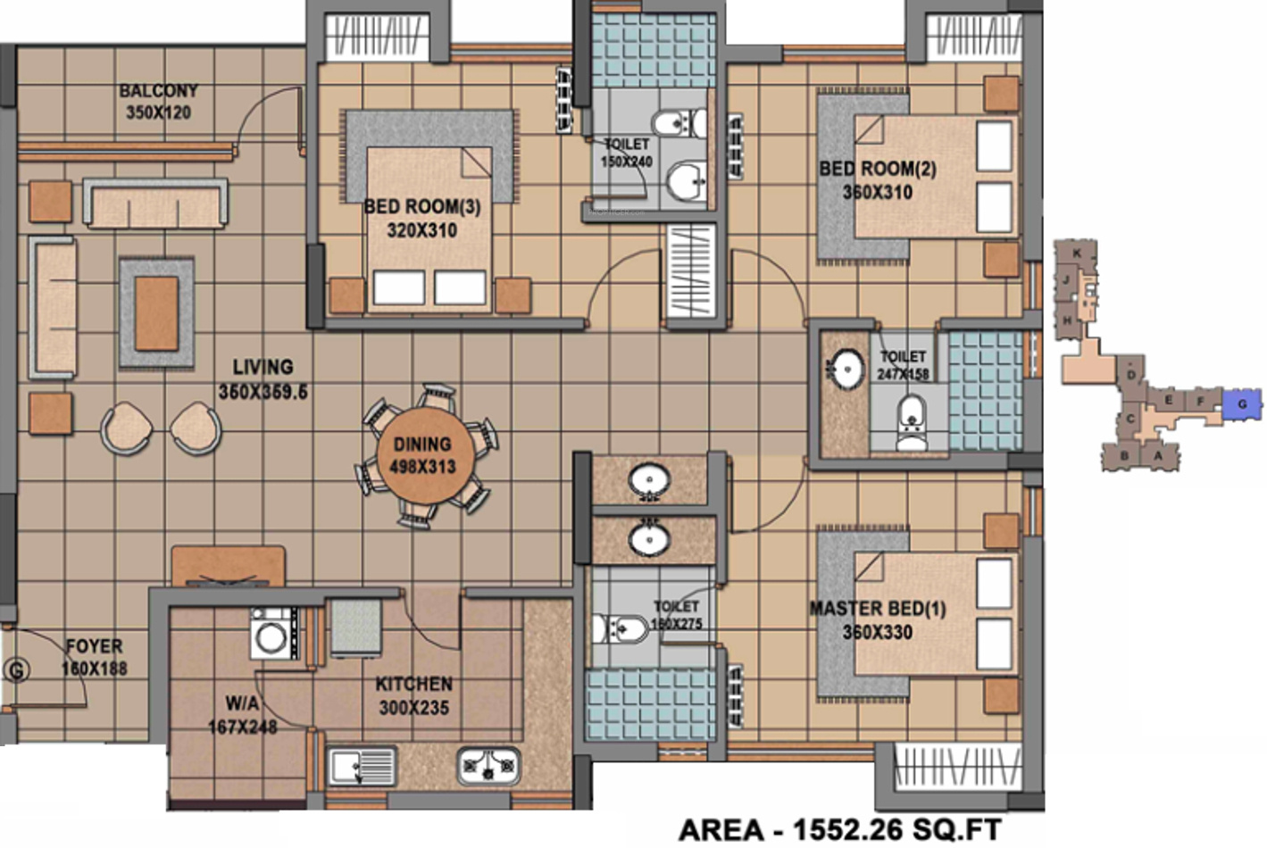 1552 sq ft 3 bhk 3t apartment for sale in malabar developers