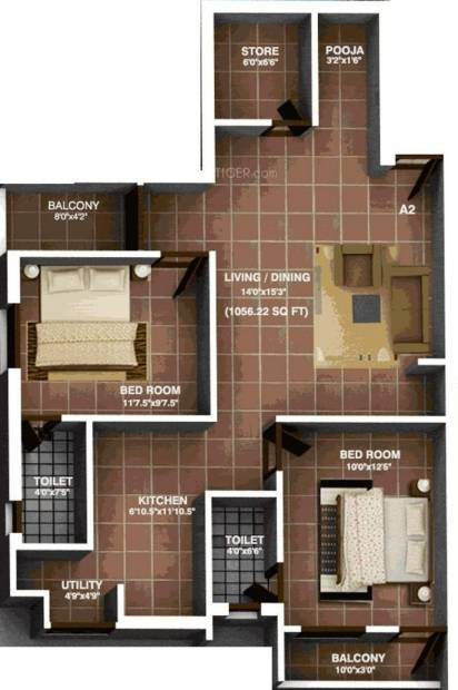 Brownstone Classic Coral (2BHK+2T (1,056 sq ft) 1056 sq ft)