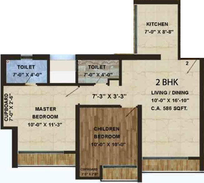640 Sq Ft 2 Bhk Floor Plan Image The Wadhwa Evergreen