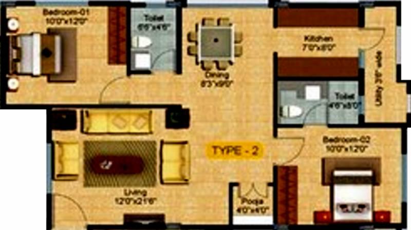 Keerthi Pride (2BHK+2T (1,130 sq ft) + Pooja Room 1130 sq ft)