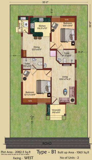 Serene Indus Valley (2BHK+2T (1,089 sq ft) 1089 sq ft)