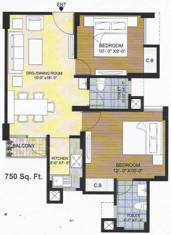 750 Sq Ft 2 Bhk 2t Apartment For Sale In Avalon Residency