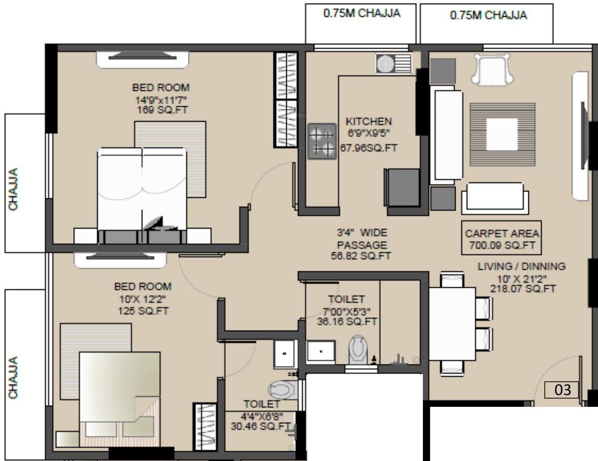 700 sq ft 2 bhk 2t apartment for sale in spark laxmi sadan