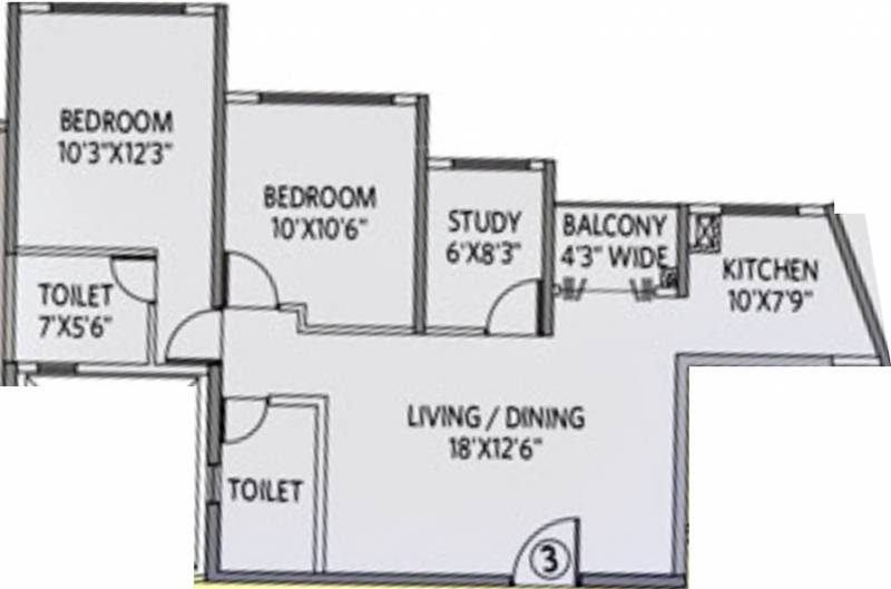 Siddha Galaxia 2 (2BHK+2T (1,090 sq ft) + Study Room 1090 sq ft)