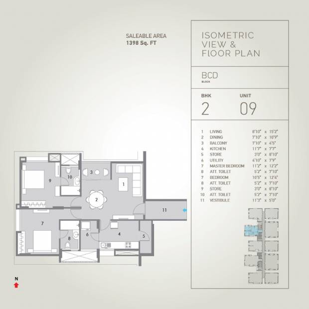 1398 Sq Ft 2 Bhk Floor Plan Image Pacifica Companies
