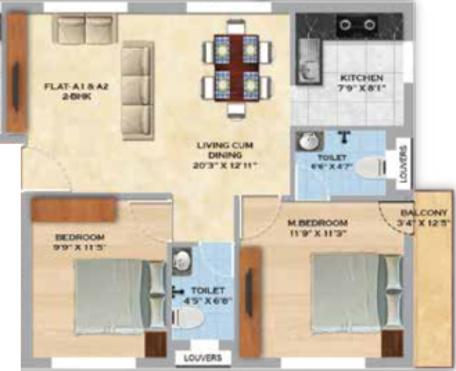 MS Orange County Apartments (2BHK+2T (935 sq ft) 935 sq ft)
