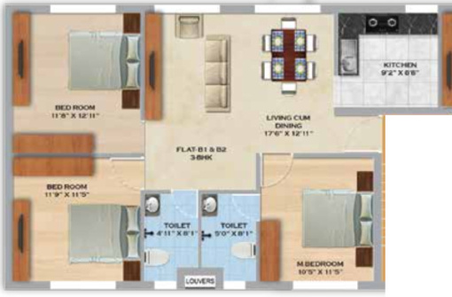 MS Orange County Apartments (3BHK+2T (1,142 sq ft) 1142 sq ft)