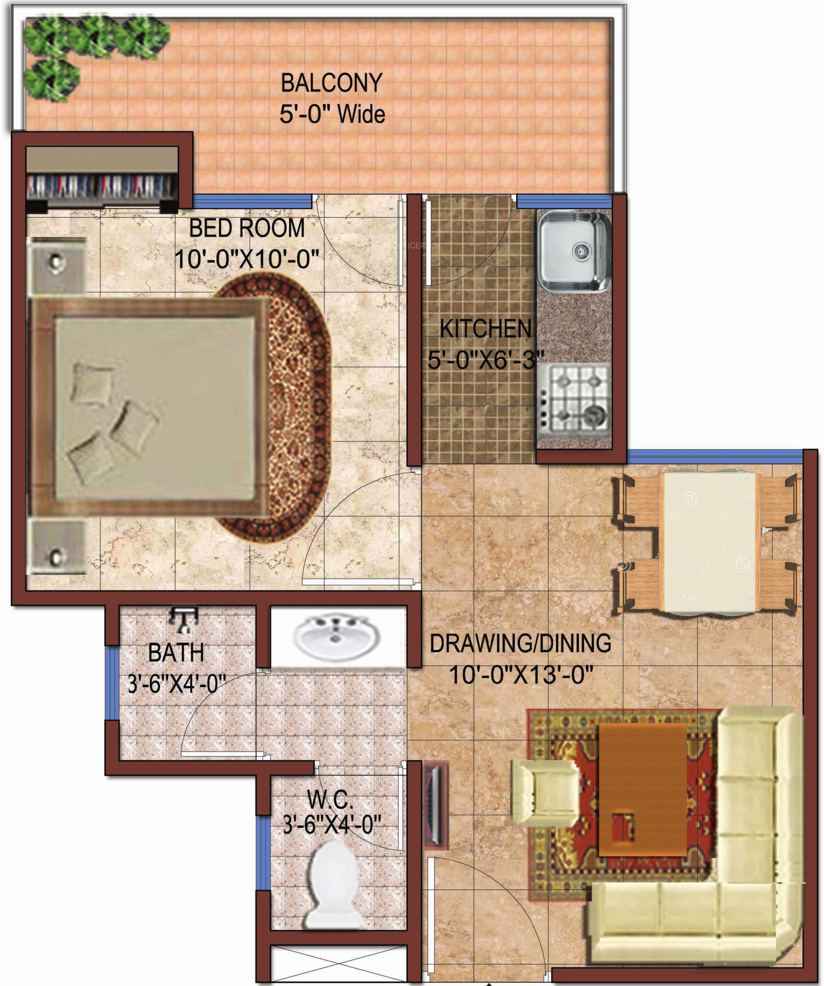 590 sq ft 1 bhk 1t apartment for sale in rise projects for Ghar plans design