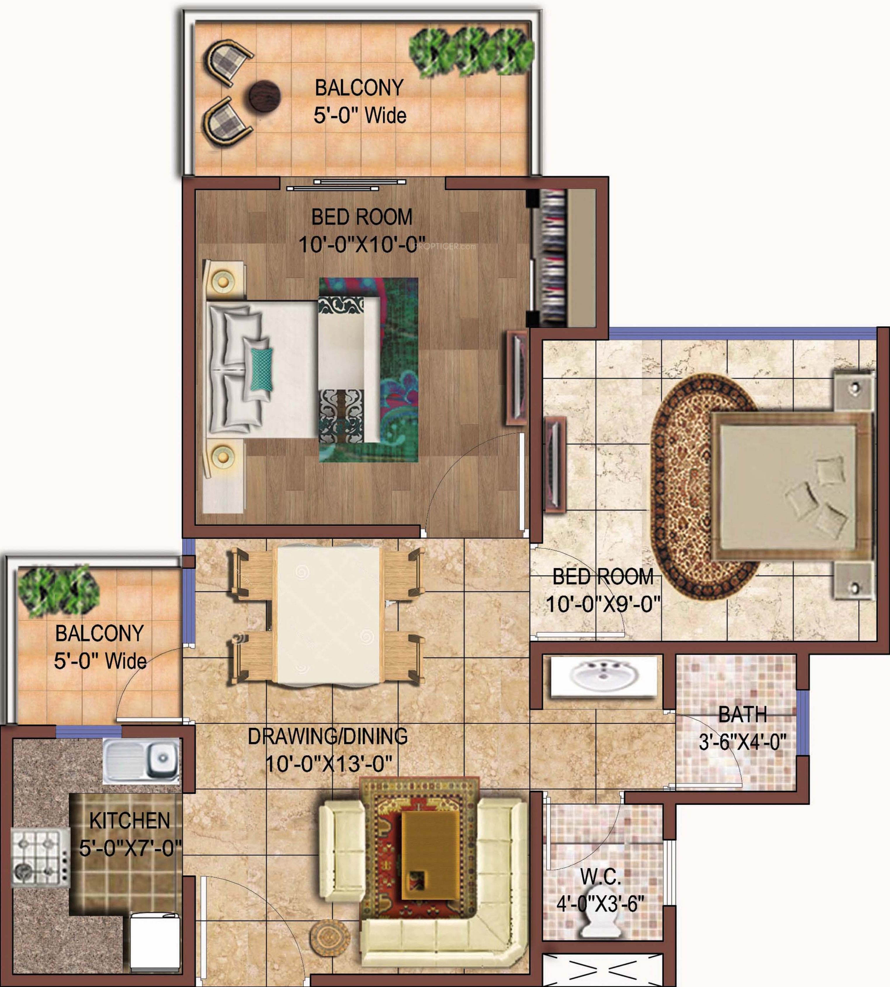 750 Sq Ft Apartment: 750 Sq Ft 2 BHK 1T Apartment For Sale In Rise Projects