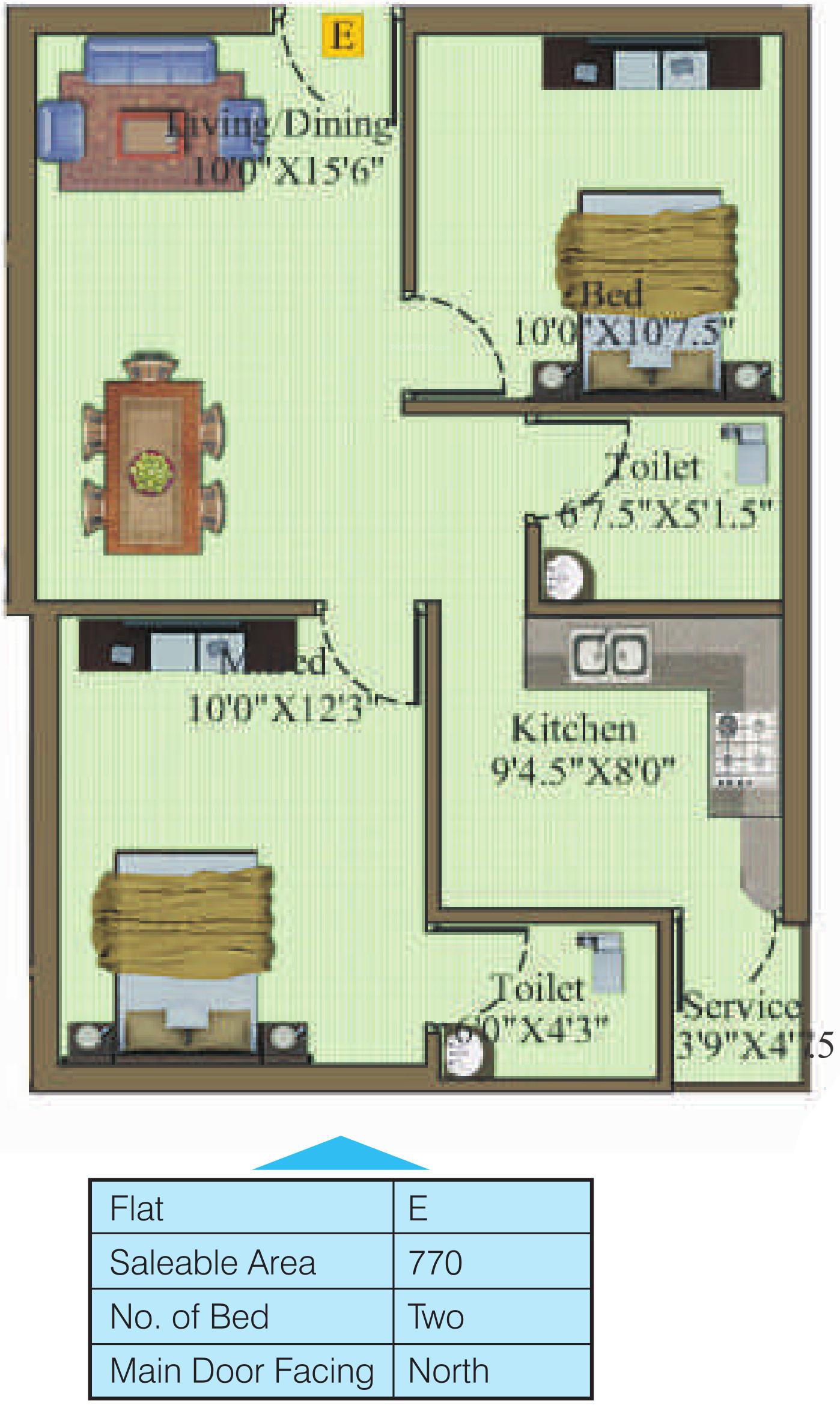 770 Sq Ft 2 Bhk 2t Apartment For Sale In Sri Gujan Atreya