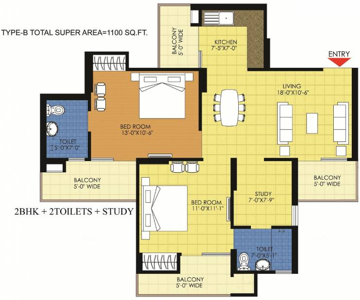 1100 sq ft 2 bhk floor plan image trident realty embassy for 1100 sq ft apartment floor plan