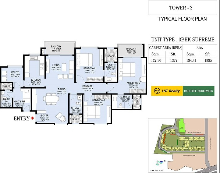 L And T Raintree Boulevard (3BHK+3T (1,985 sq ft) + Servant Room 1985 sq ft)