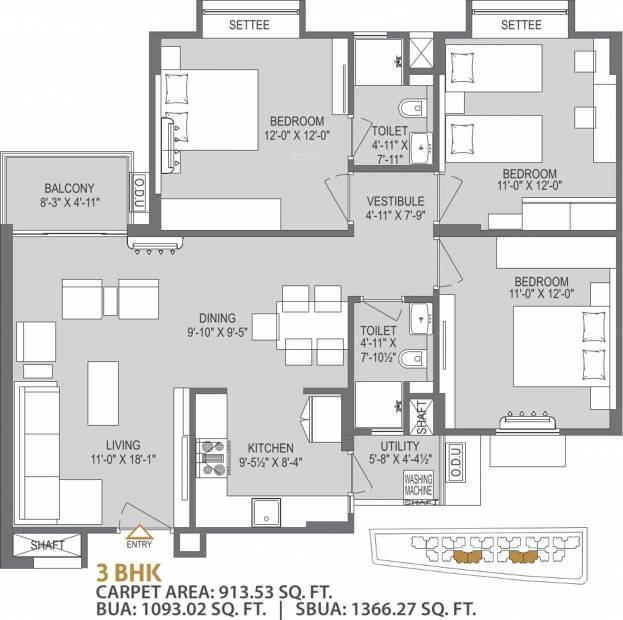 Mahima Bellevista (3BHK+2T (1,366.27 sq ft) 1366.27 sq ft)