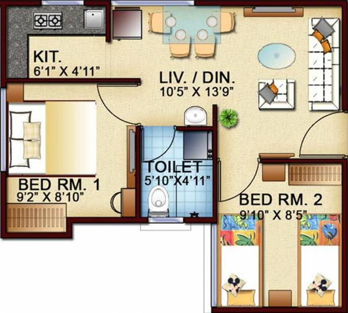 500 sq ft 2 bhk floor plan image town and city for Apartment floor plans for sale