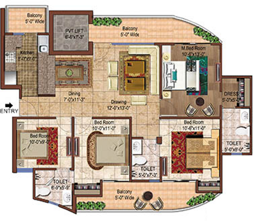 1795 sq ft 4 bhk 3t apartment for sale in rise projects for Ghar plans design