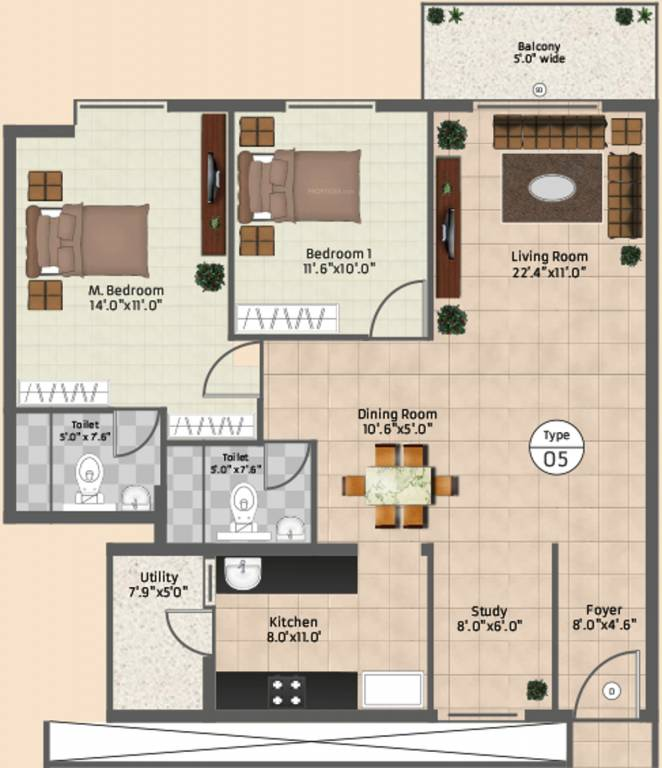 1200 sq ft 2 bhk 2t apartment for sale in apranje amara for Apartment plans 1200 sq ft