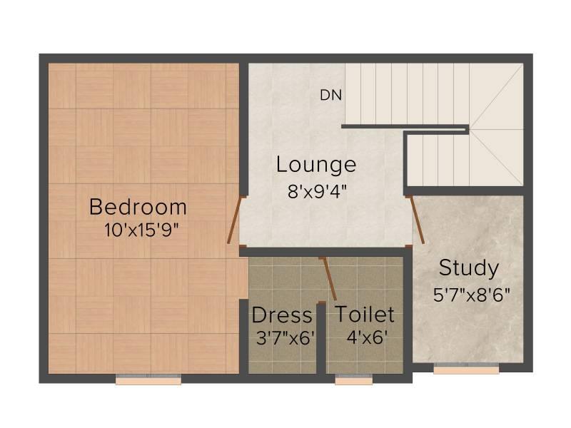 Afraah Spring Field (2BHK+2T (1,140 sq ft)   Study Room 1140 sq ft)