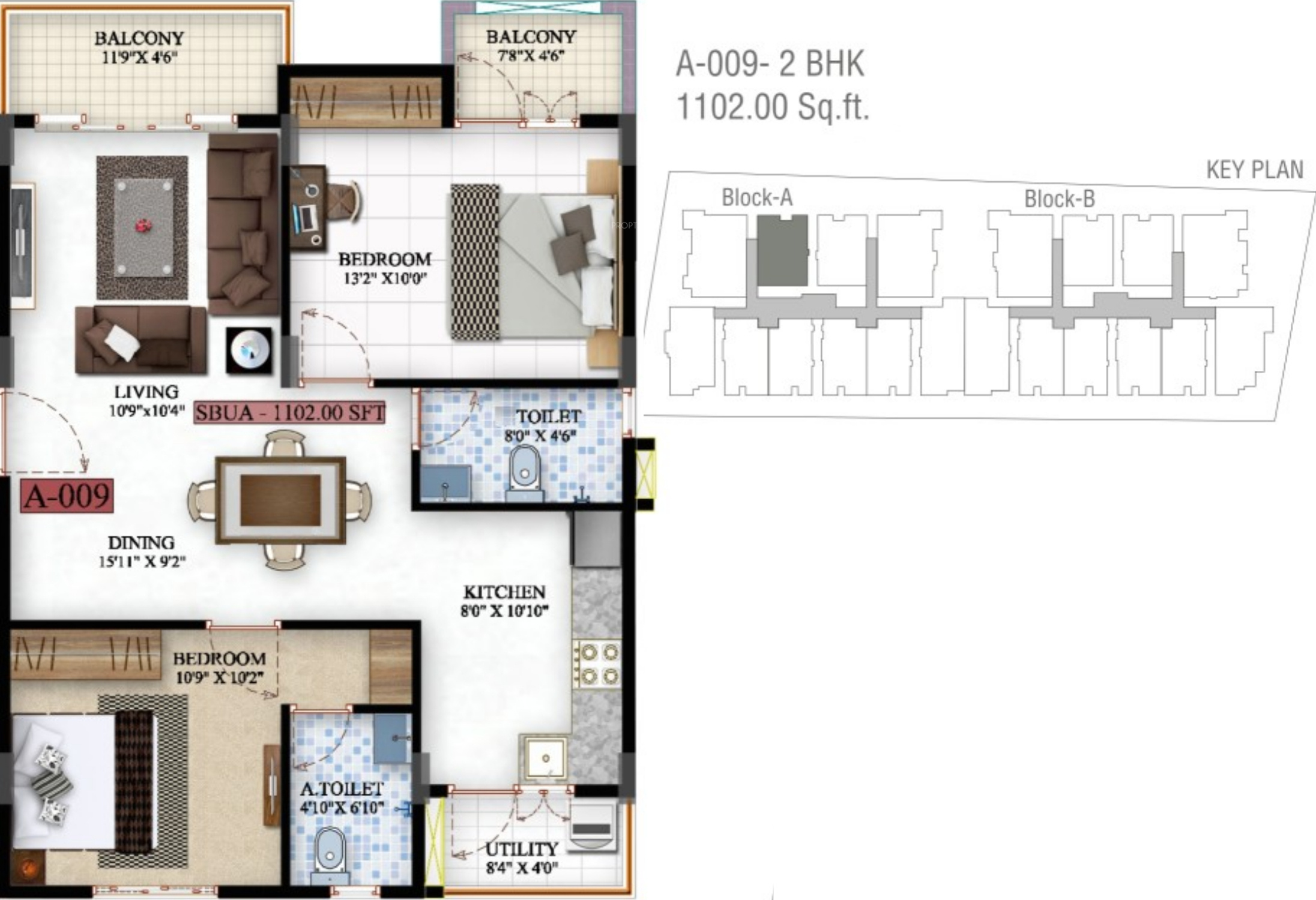 1102 sq ft 2 bhk 2t apartment for sale in saibya for Sterling plan