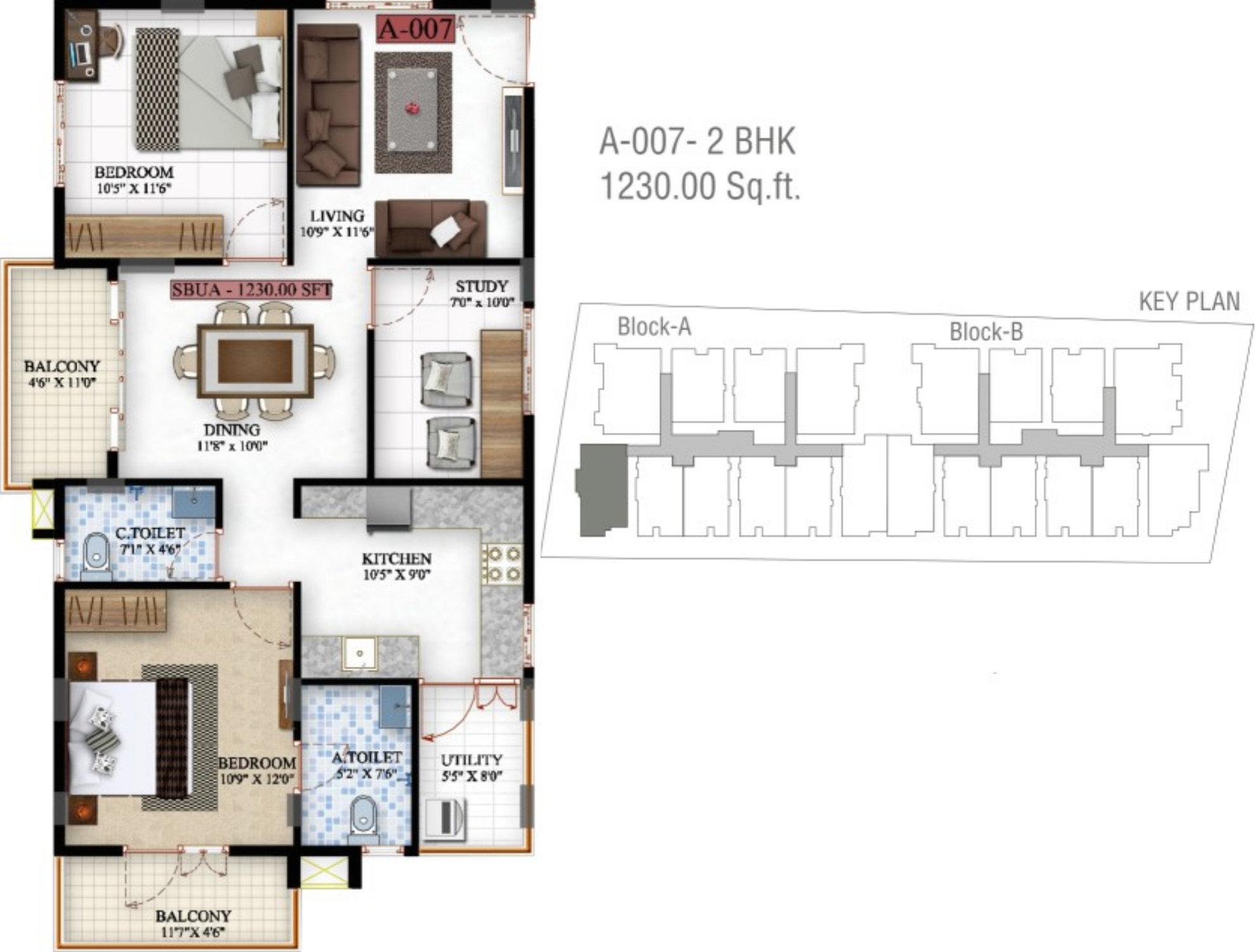 1230 sq ft 2 bhk 2t apartment for sale in saibya for Sterling plan