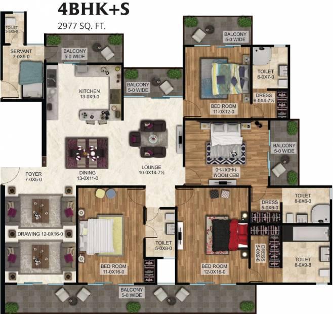 The Antriksh The Golf Address (4BHK+4T (2,977 sq ft)   Servant Room 2977 sq ft)