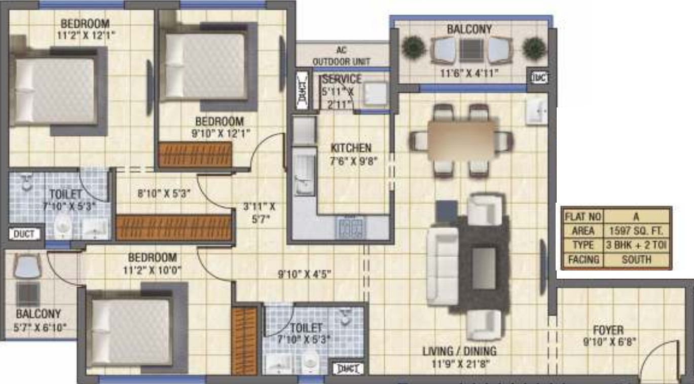 1597 Sq Ft 3 Bhk 2t Apartment For Sale In Vgn Fairmont