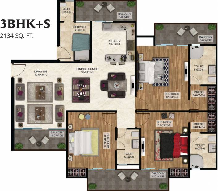 The Antriksh The Golf Address (3BHK+3T (2,134 sq ft)   Servant Room 2134 sq ft)