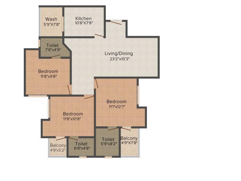 Infra Proxim (3BHK+3T (1,412 sq ft) 1412 sq ft)