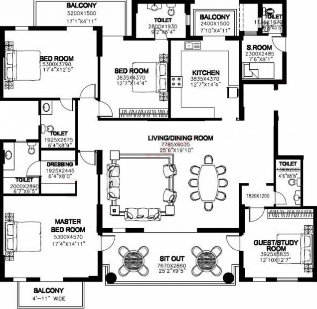 DLF New Town Heights (3BHK+5T (3,330 sq ft)   Study Room 3330 sq ft)