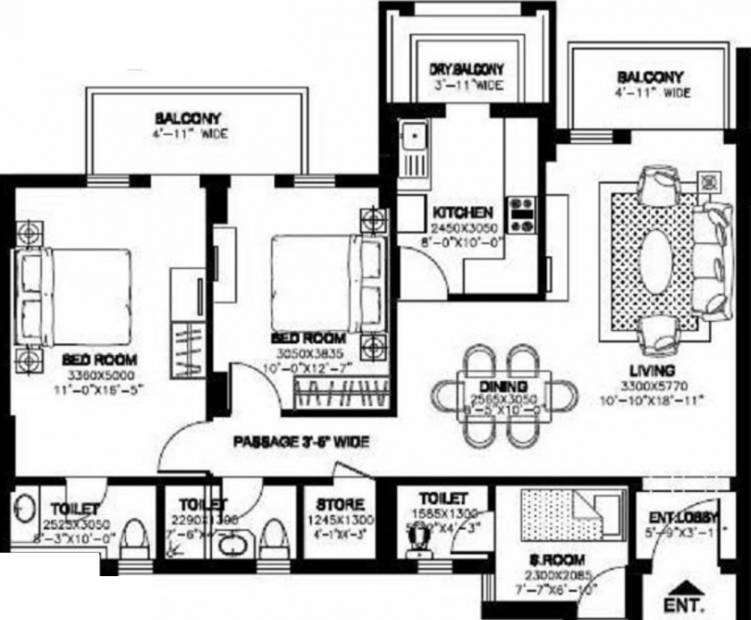 DLF New Town Heights (2BHK+3T (1,535 sq ft)   Servant Room 1535 sq ft)