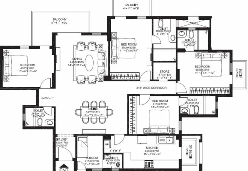 DLF New Town Heights (4BHK+5T (2,650 sq ft)   Servant Room 2650 sq ft)