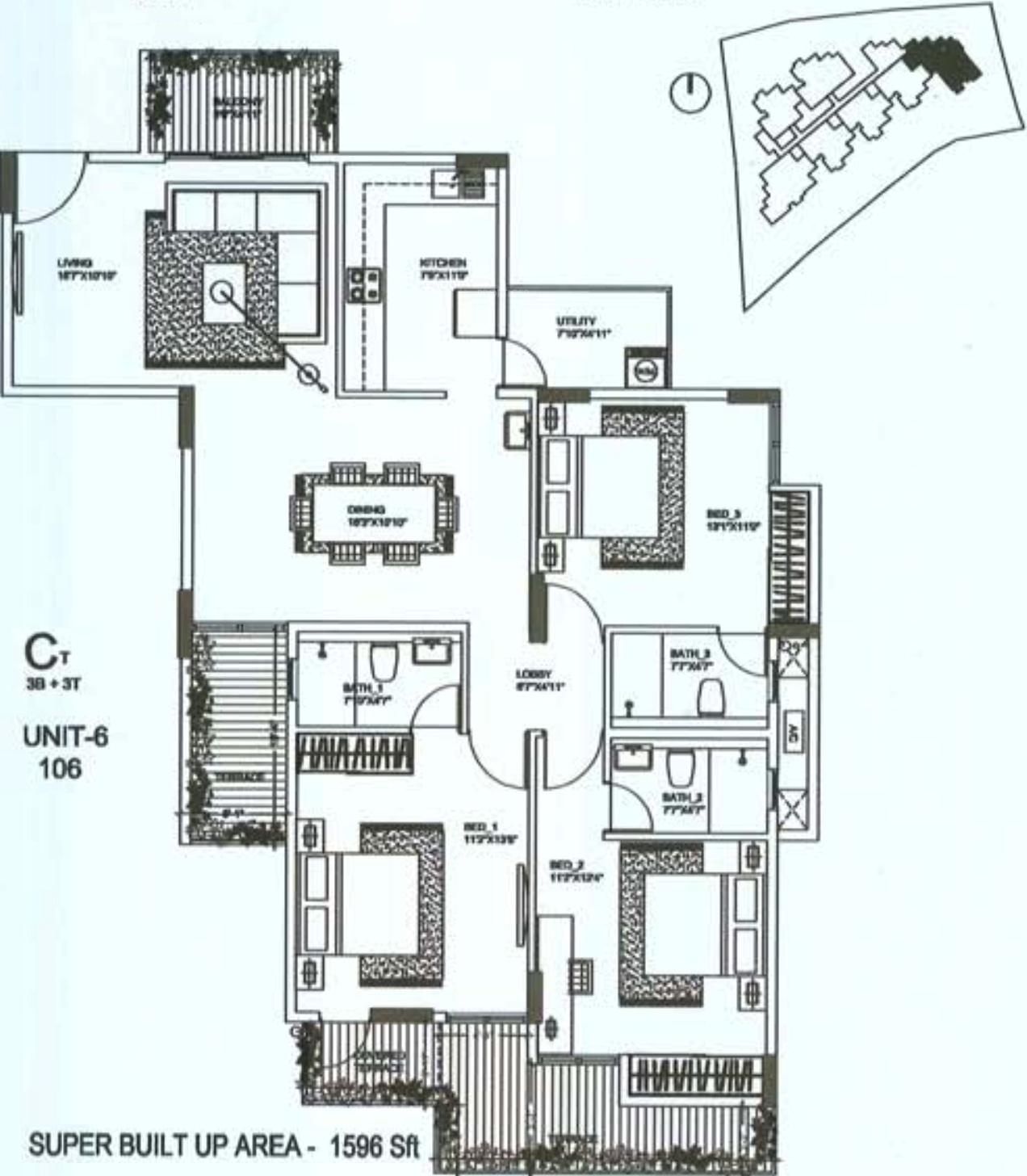 1596 sq ft 3 bhk 3t apartment for sale in oceanus regal for Regal flooring arizona