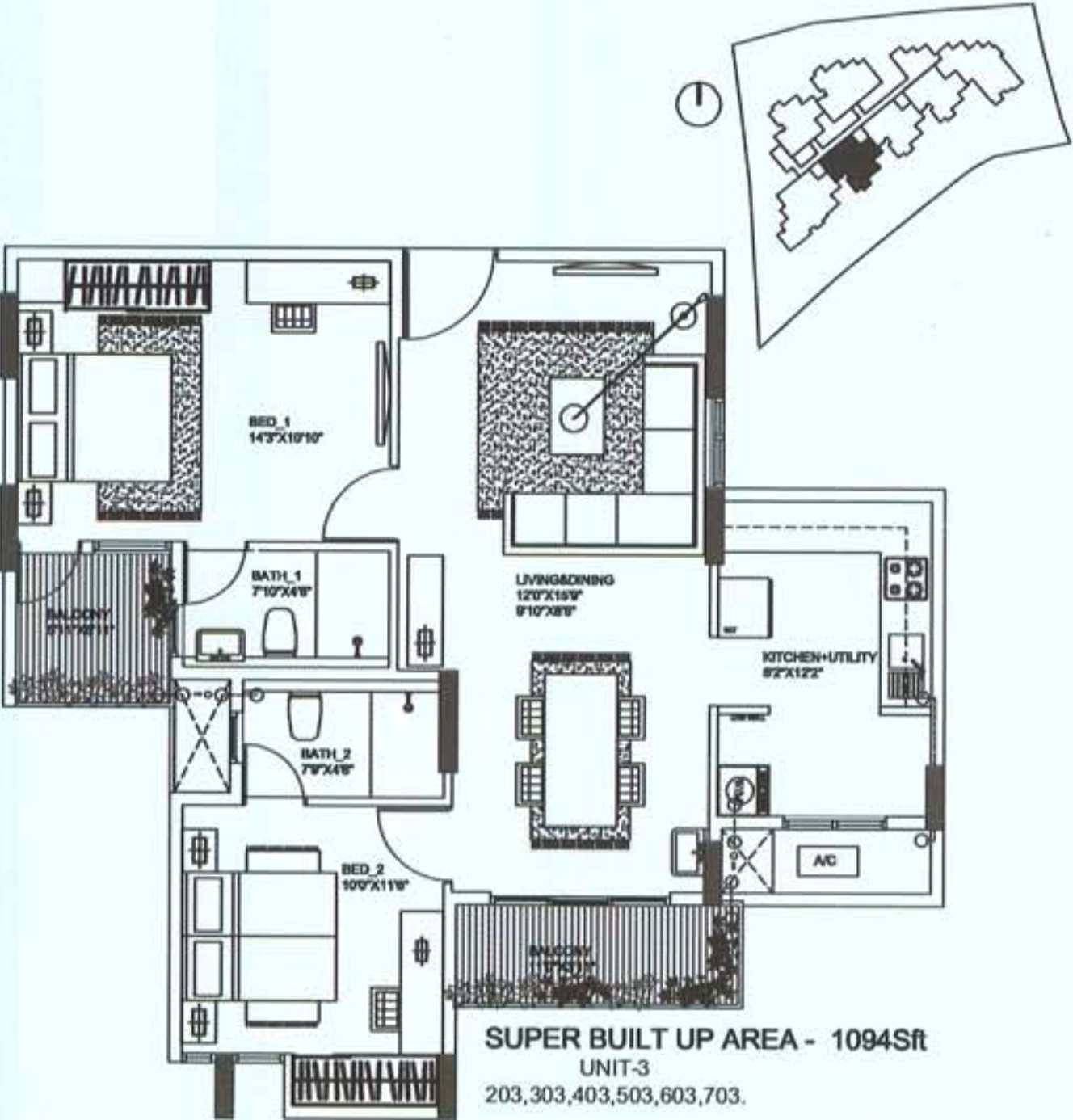 1094 sq ft 2 bhk 2t apartment for sale in oceanus regal for Regal flooring arizona