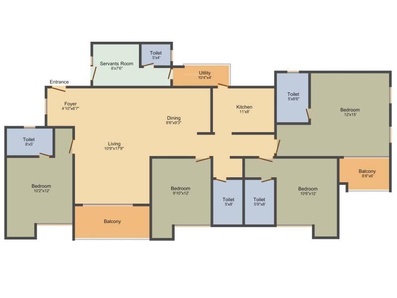 Ozone Greens (4BHK+4T (2,566 sq ft) + Servant Room 2566 sq ft)