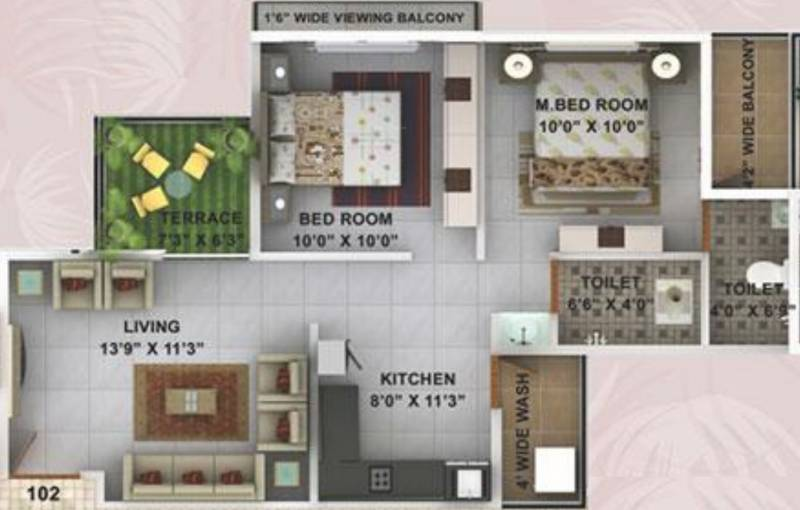 Kwality Enclave (2BHK+2T (928 sq ft) 928 sq ft)