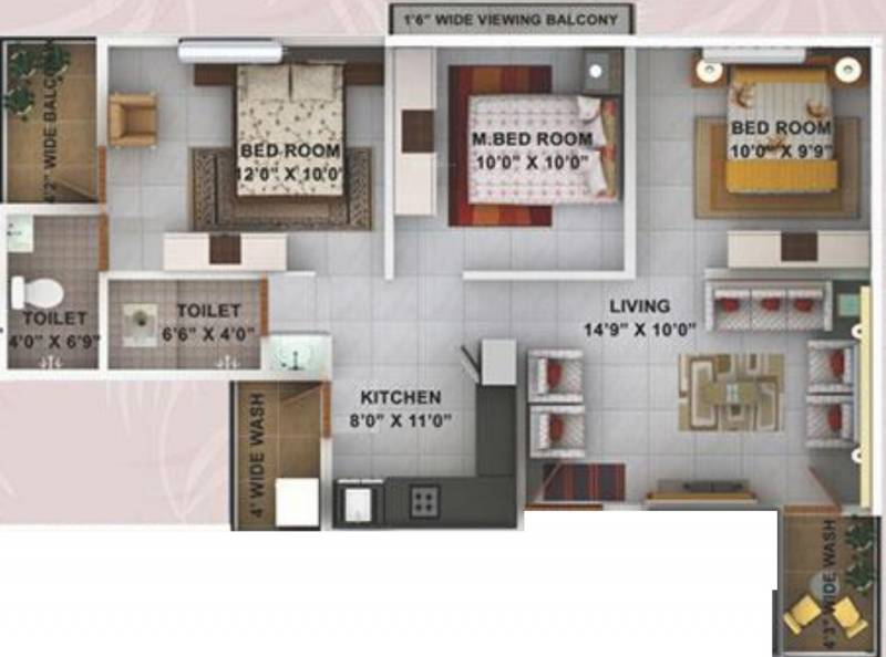 Kwality Enclave (3BHK+2T (1,062 sq ft) 1062 sq ft)